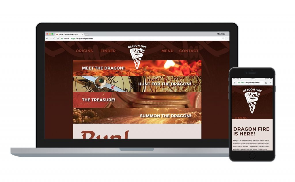 website for Dragon Fire Pizza