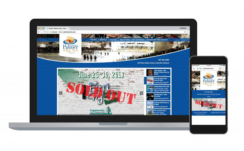 website for Palmer Arena