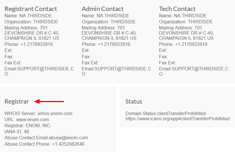 example of a WHOIS listing