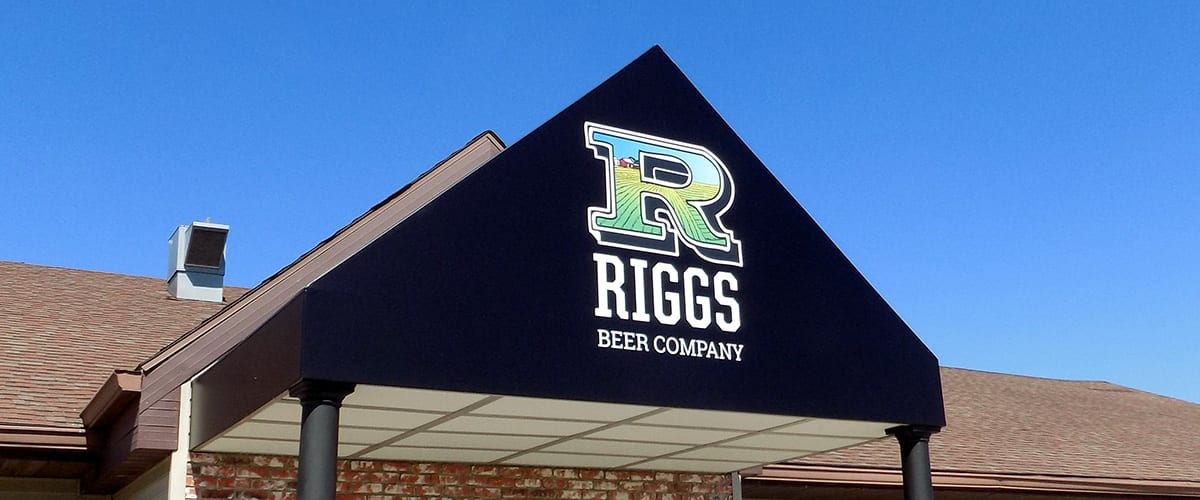 canopy over the entrance to Riggs Beer Company