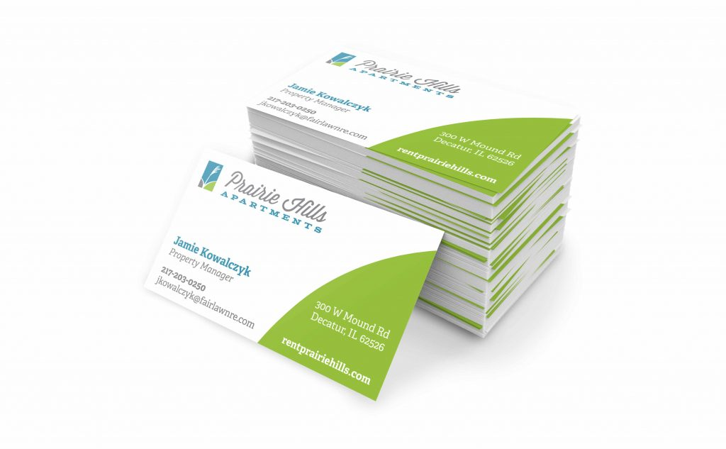 business card design for Prairie Hills Apartments