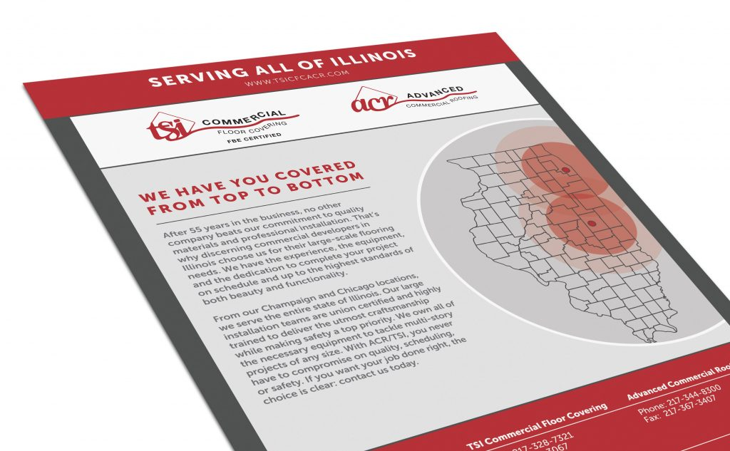 TSI Commercial Floor Covering and Advanced Commercial Roofing coverage flyer