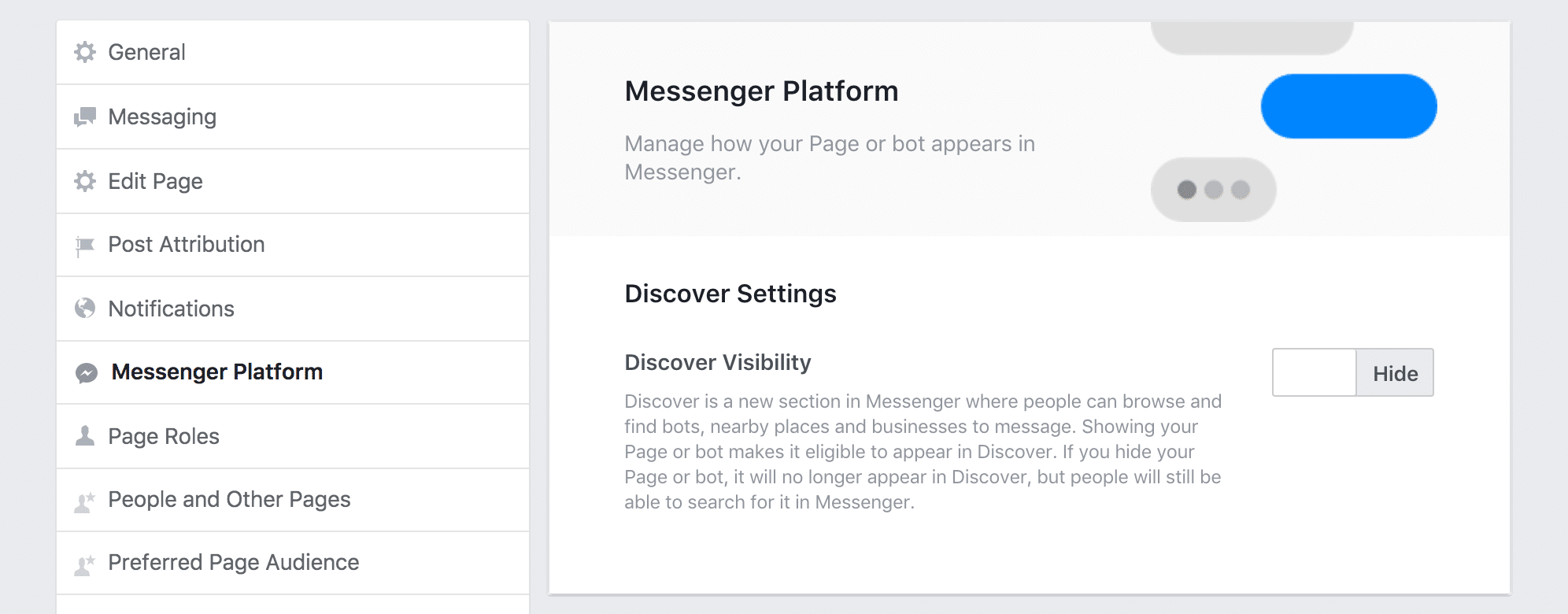 Discover settings for Facebook's Messenger Platform