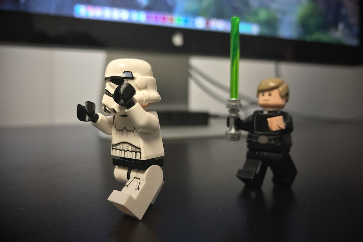 Luke Skywalker chasing Stormtrooper