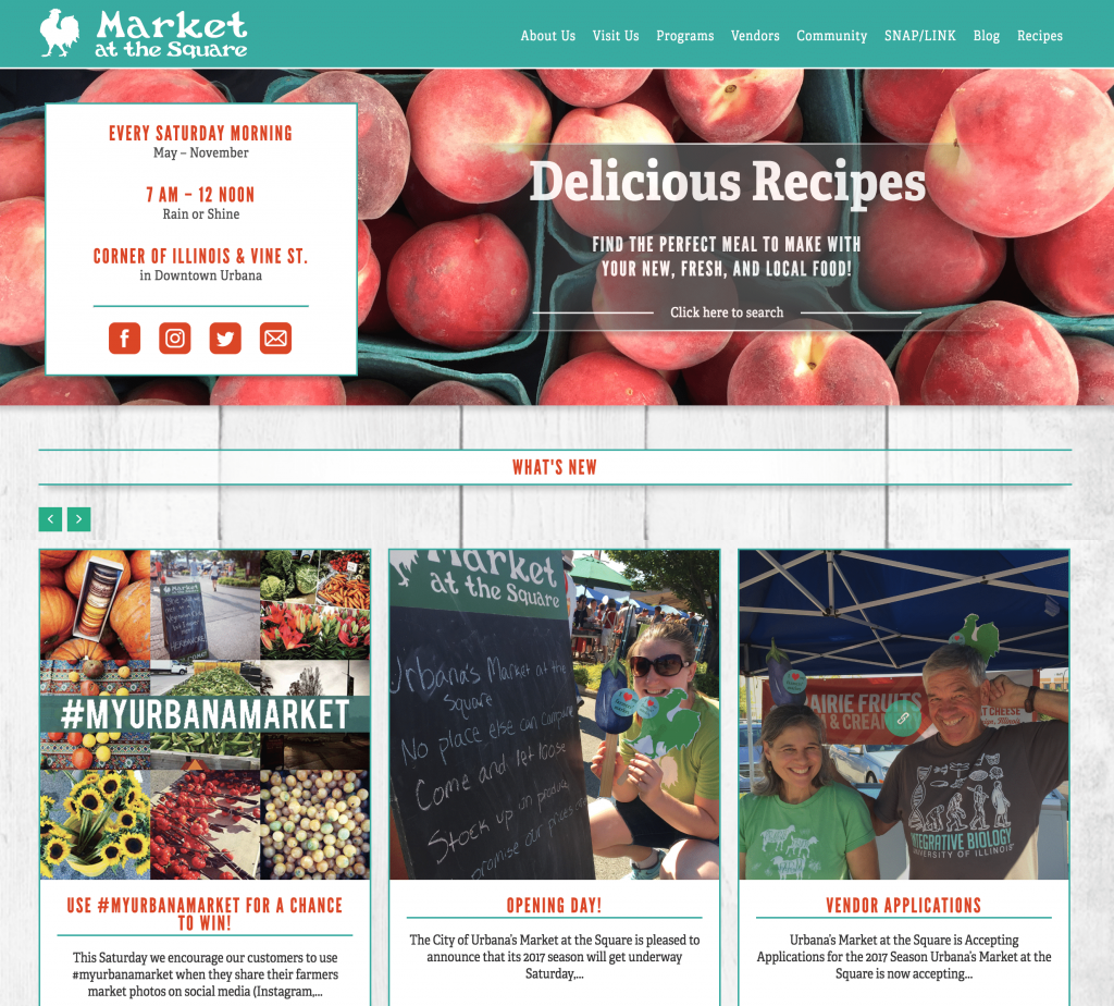 screenshot of new Urbana Market website