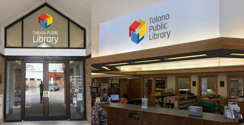 mockup of Tolono Public Library logo