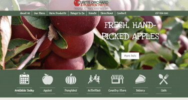 screenshot of Curtis Orchard's new website