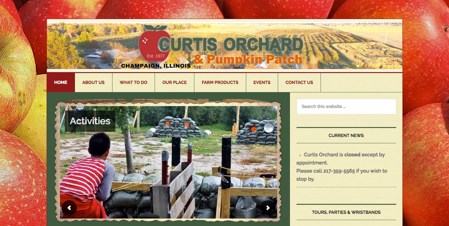 old website for Curtis Orchard