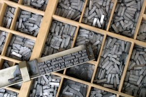 metal movable type - photo by Willi Heidelbach