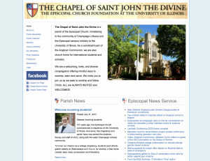 Previous design for the website of the Chapel of Saint John the Divine