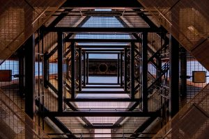 vertical shot of structure inside tower at the University of Illinois, photo by Dayne Topkin