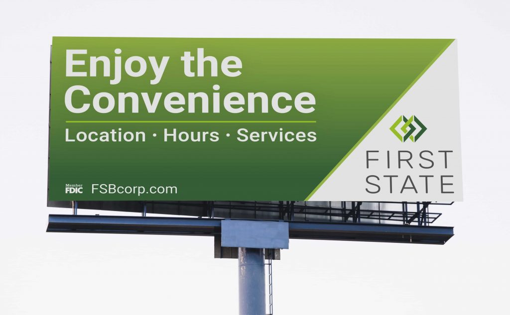 billboard for First State Bank