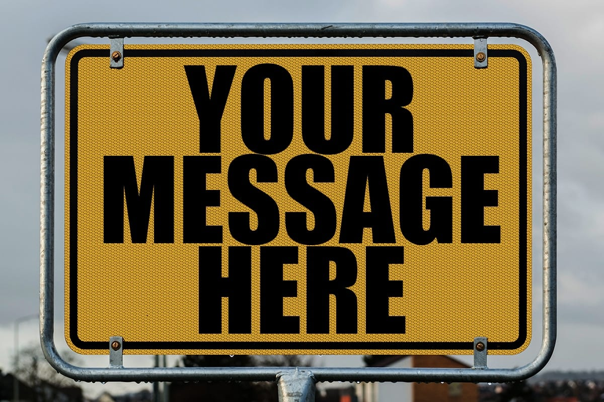 sign with crowded text