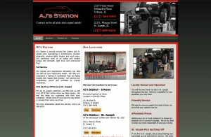 screenshot of the previous version of AJ's Station's website