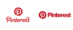 old and new logos for Pinterest